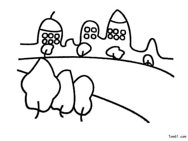 美丽城市儿童简笔画