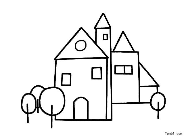 栅栏和房子边框简笔画