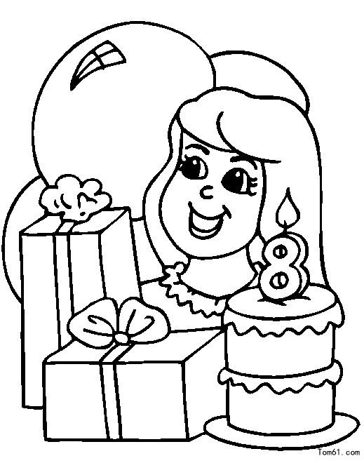 生日涂色-简笔画图片-儿童资源网手机版