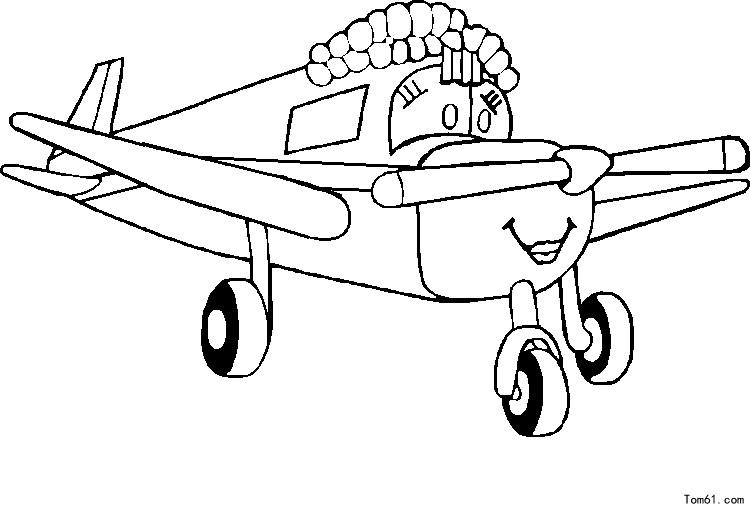 飞机涂色-简笔画图片-儿童资源网手机版