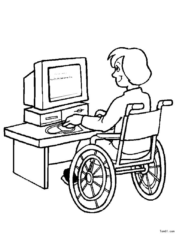 残疾人简笔画图片大全图片