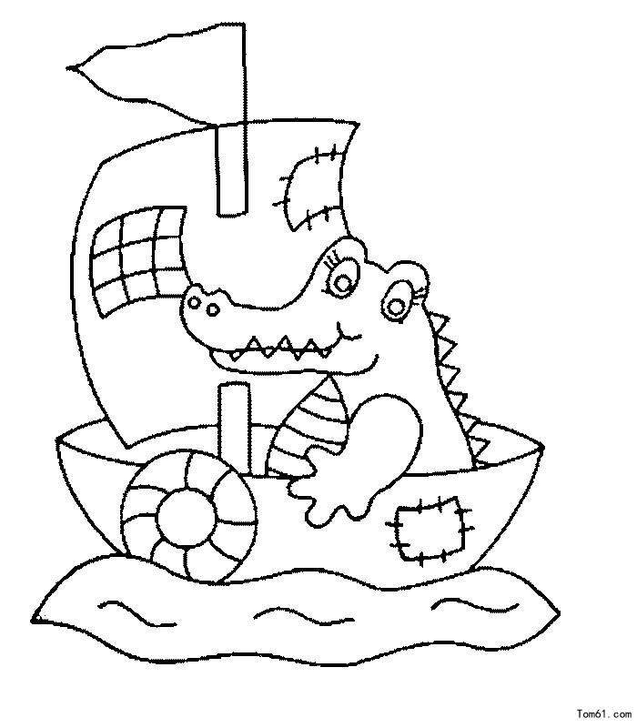鳄鱼画简笔画步骤图